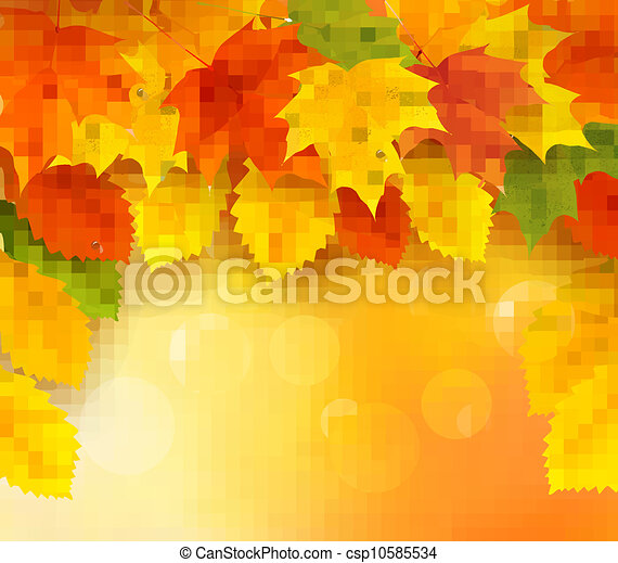 Autumn background with leaves  - csp10585534