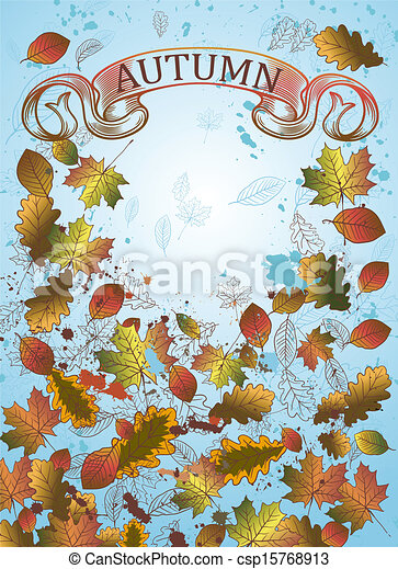 Autumn background with leaves.  - csp15768913