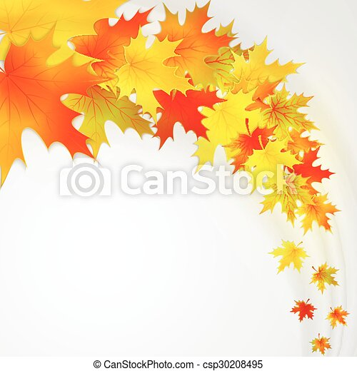Autumn background with leaves. Vector nature background. - csp30208495
