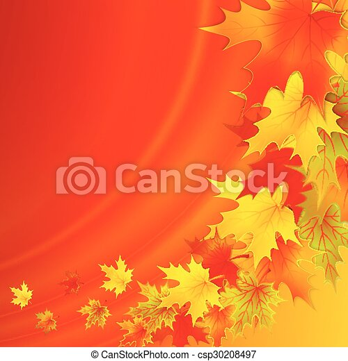 Autumn background with leaves. Vector nature background. - csp30208497