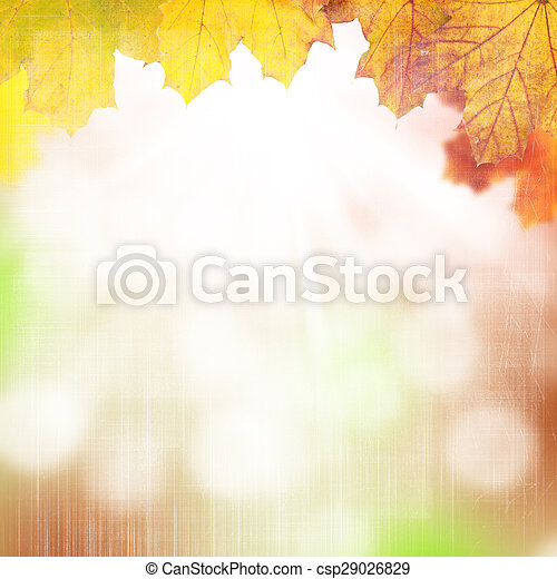 Autumn background with maple leaves - csp29026829