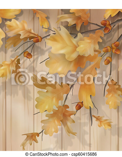 Autumn background with oak leaves - csp60415686