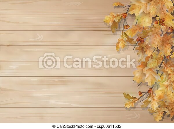 Autumn background with oak leaves - csp60611532
