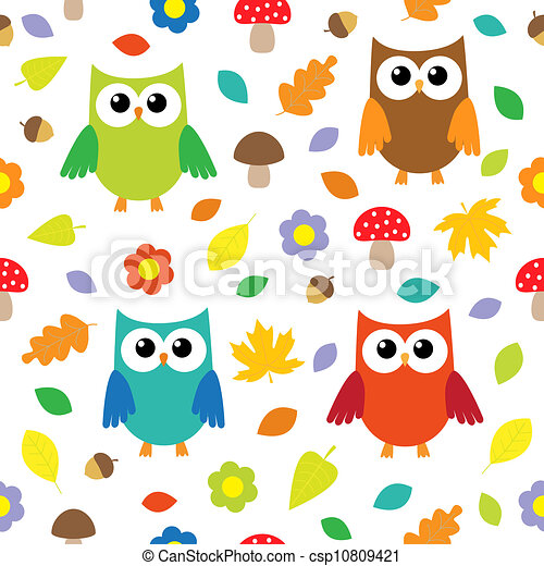 Autumn background with owls - csp10809421