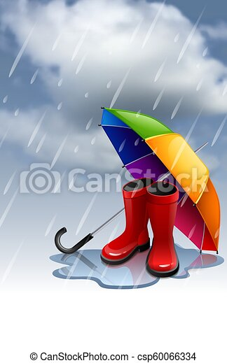 Autumn background with rainbow umbrella and red gumboots - csp60066334
