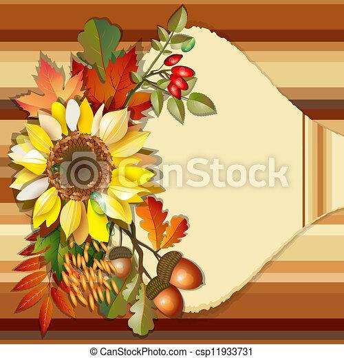 Autumn background with sunflower - csp11933731