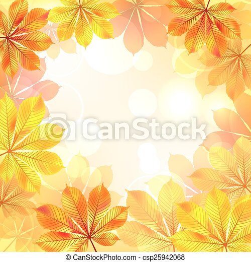 Autumn background with yellow leaves. - csp25942068