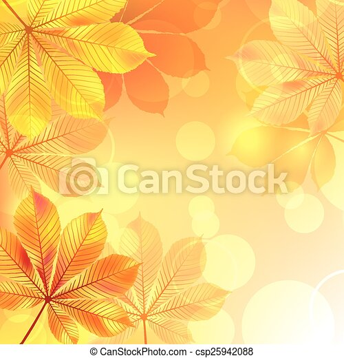 Autumn background with yellow leaves. - csp25942088