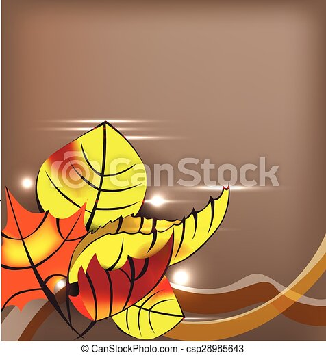 autumn background with yellow leaves - csp28985643