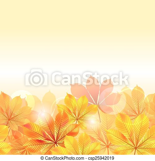 Autumn background with yellow leaves. - csp25942019