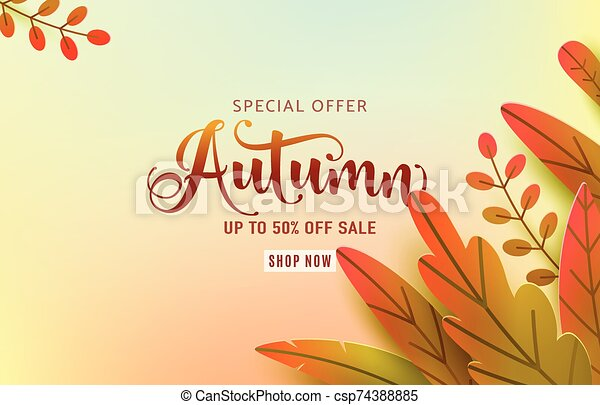 Autumn banner vector background. Fall floral design, text offer sale sign. Red, orange, green abstract leaves in simple flat paper cut style. Autumnal page discount - csp74388885