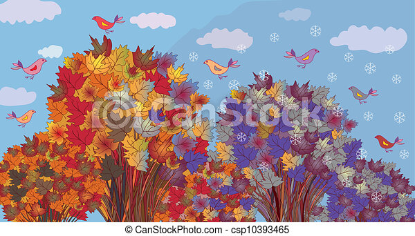 Autumn becomes winter - seasonal banner with trees - csp10393465