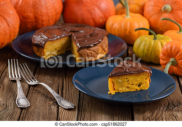 Excellent Autumn Birthday Cake With Chocolate Icing On Navy Blue Plates Funny Birthday Cards Online Aboleapandamsfinfo