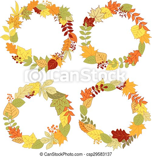 Autumn borders and frames with leaves. Autumn round frames and ...