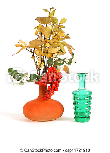 Autumn bouquet in a vase with colored glass on a white background - csp11721910