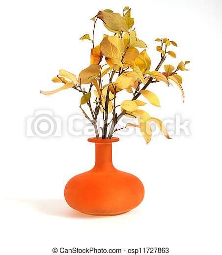 Autumn bouquet in a vase with colored glass on a white background - csp11727863