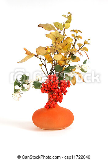 Autumn bouquet in a vase with colored glass on a white background - csp11722040