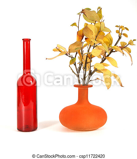 Autumn bouquet in a vase with colored glass on a white background - csp11722420