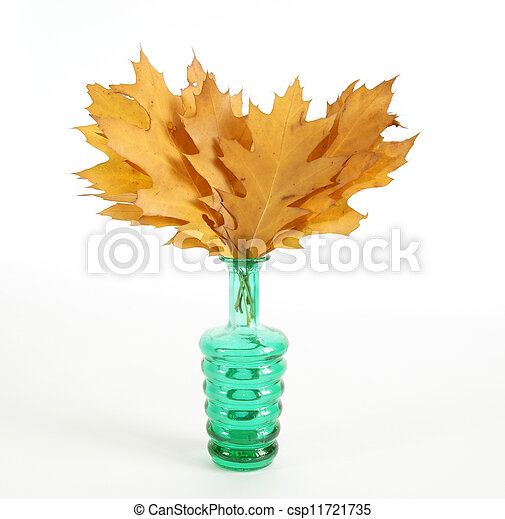 Autumn bouquet of oak leaves in a vase with colored glass on a white background - csp11721735