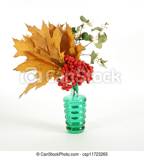 Autumn Bouquet with ash and oak leaves in a vase with colored glass on a white background - csp11723265