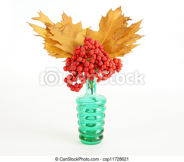 Autumn Bouquet with ash and oak leaves in a vase with colored glass on a white background - csp11728621