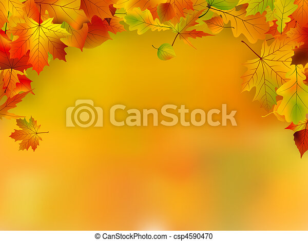 Autumn card of colored leafs with copy space - csp4590470