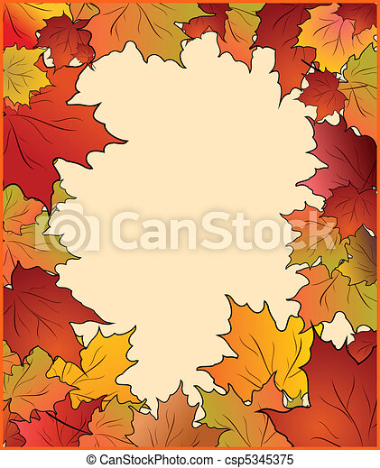 Autumn card with maple - csp5345375