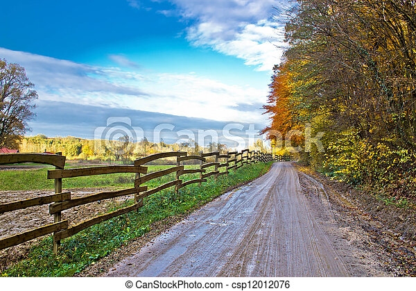 Autumn colorful mountain dirt road - csp12012076