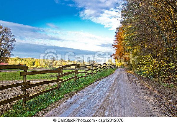 Autumn colorful mountain dirt road - csp12012076