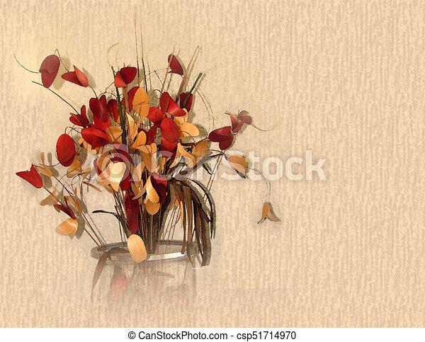Autumn colors Dry Flowers watercolor - csp51714970