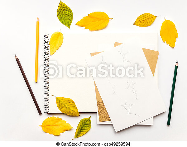 Autumn composition with album and pencils, decorated with yellow and green leaves. Flat lay, top view - csp49259594