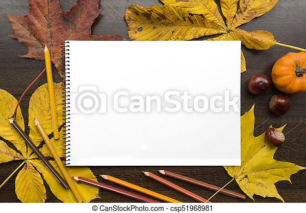 Autumn composition with empty album and fallen leaves - csp51968981