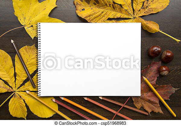 Autumn composition with empty album and fallen leaves - csp51968983