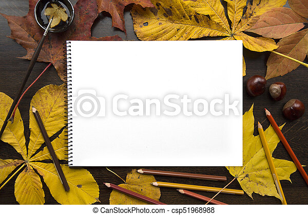 Autumn composition with empty album and fallen leaves - csp51968988