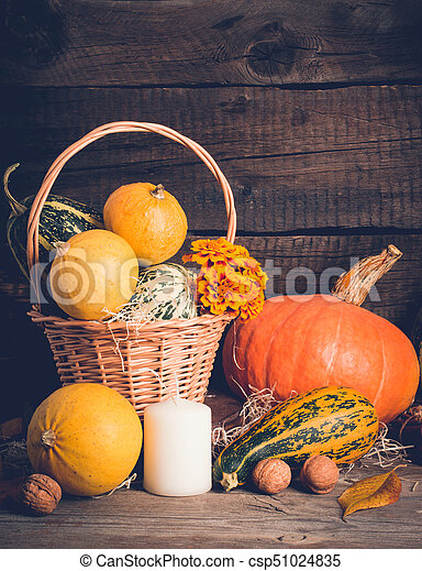 Autumn composition with pumpkins. Thanksgiving concept, copy space - csp51024835