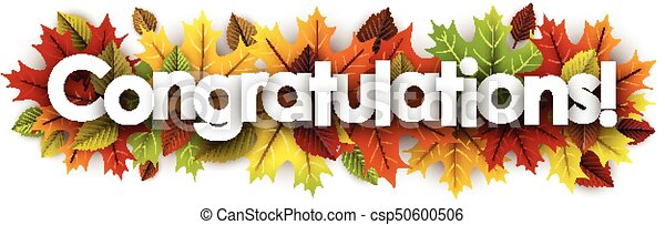 autumn congratulations banner with leaves congratulations autumn
