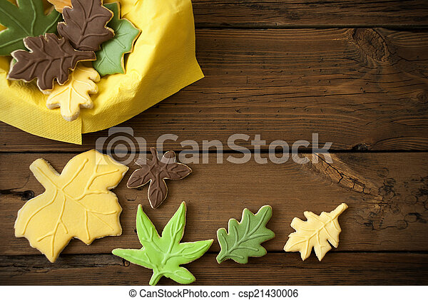 Autumn Cookies on Wooden Background - csp21430006