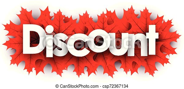 Autumn discount sign with red maple leaves. - csp72367134