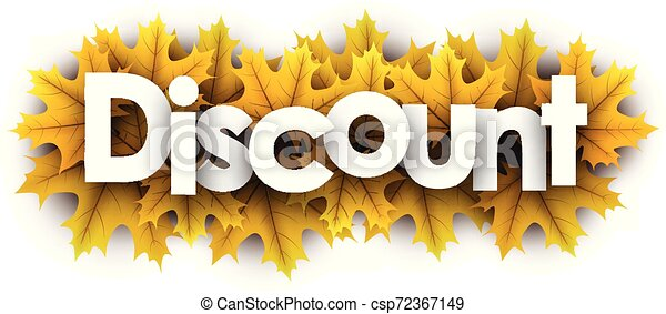 Autumn discount sign with yellow maple leaves. - csp72367149