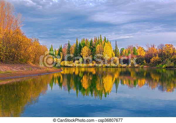 Autumn evening in the Siberian taiga - csp36807677