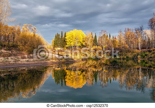Autumn Evening on the River - csp12532370