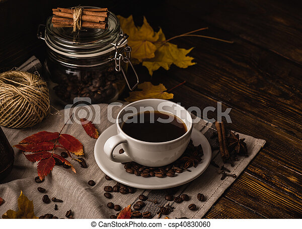 Autumn Evening with Cup of Coffee. - csp40830060
