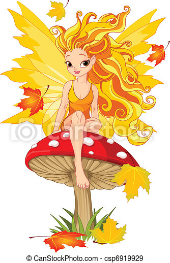 Autumn Fairy on the Mushroom  - csp6919929