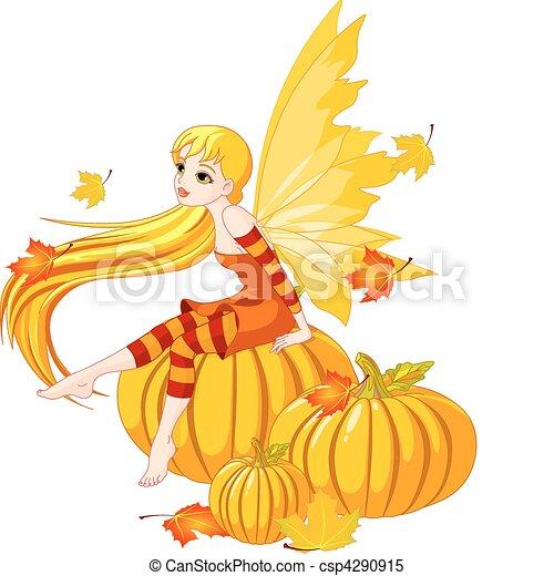 Autumn Fairy on the Pumpkin - csp4290915