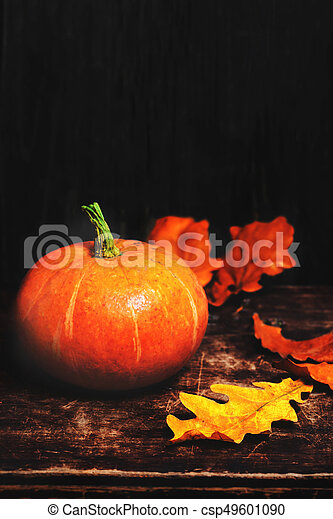 Autumn Fall Background With Pumpkins And Golden Leaves On Rustic Wooden Happy Thanksgiving Card Copy Space