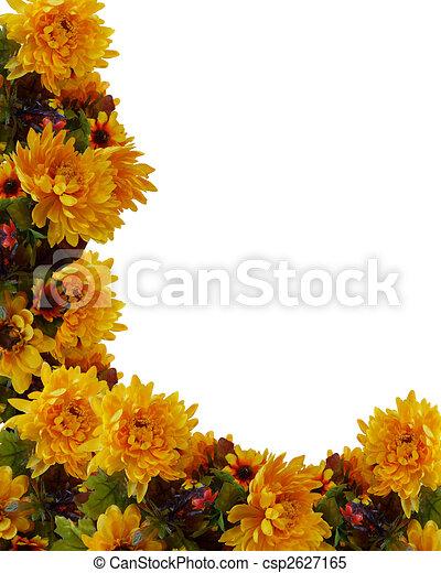 Autumn Fall Floral Background Border - csp2627165