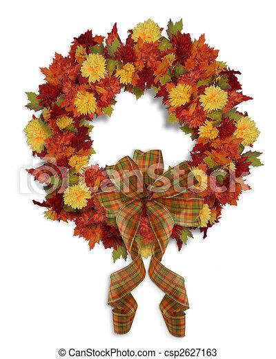 Autumn Fall Floral wreath - csp2627163