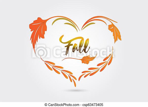 Autumn fall heart shape vector - csp63473405