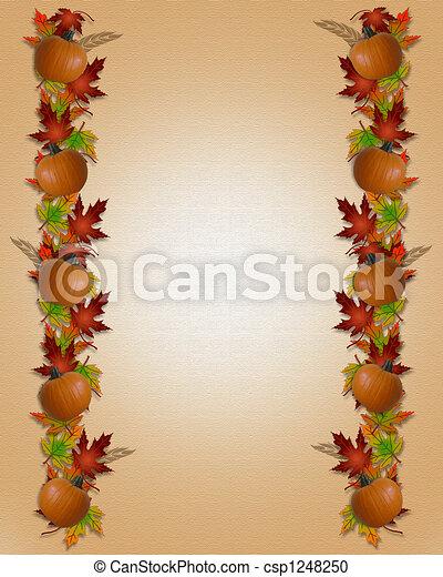 Autumn Fall Leaves Border Canvas - csp1248250