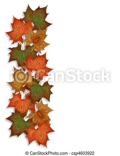 Autumn Fall leaves Border - csp4603922